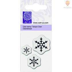 Prozorna silikonska štampiljka Tri snežinke osnovne