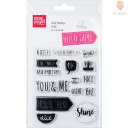 Set prozornih silikonskih štampiljk Hello 17 kosov