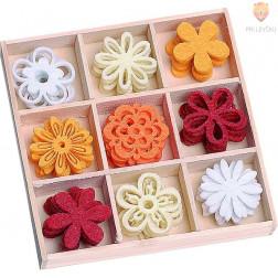 Barvni filc okraski v škatlici Rožice 45 kosov