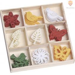 Barvni filc okraski v škatlici Pomlad 45 kosov