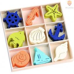 Barvni filc okraski v škatlici Morski motivi 45 kosov