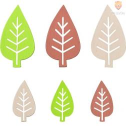 Barvni leseni okraski v škatlici Listki 2 velikosti 54 kosov