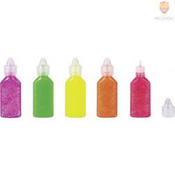 Bleščice v lepilu Neon barvni miks 5x20 ml