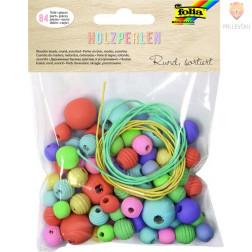 Lesene perle okrogle različnih velikosti pastelne barve 85 kosov 60g