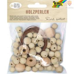 Lesene perle okrogle različnih velikosti naravne barve 85 kosov 60g