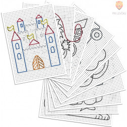 Barvni karton za vezenje bel z motivi 40 kos