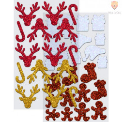 Moos gumi nalepke z bleščicami Božič I 50 kosov