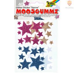 Moos gumi samolepilne zvezdice z bleščicami 40 kosov