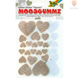 Moos gumi samolepilni srčki z bleščicami 40 kosov