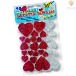 Moos gumi oblike samolepilni srčki z bleščicami 40 kosov