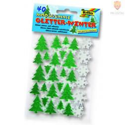 Moos gumi samolepilne smrečice in snežinke z bleščicami 40 kosov