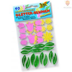 Moos gumi oblike - samolepilne rožice z bleščicami