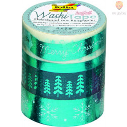 Set washi lepilnih trakov Hot foil Ice blue 4 kosi