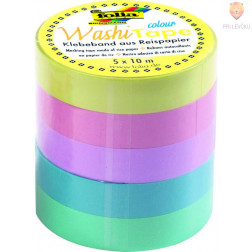 Set washi lepilnih trakov Uni pastel 5 kosov