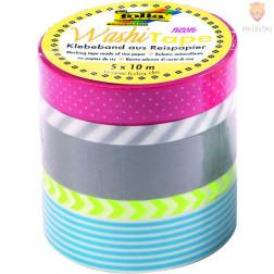 Set washi lepilnih trakov Neon Yellow 5 kosov