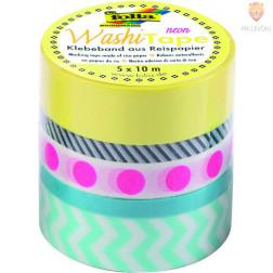 Set washi lepilnih trakov Neon Pink 5 kosov