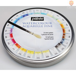 Set akvarelnih barv v kovinski dozi 24 kos + čopič