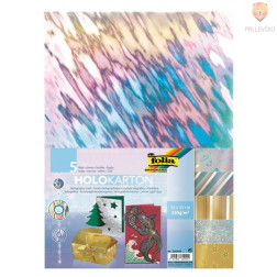 Hologramski karton v setu 25x35cm različne barve 5 kosov