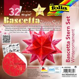 Set origami papirja za izdelavo Baschetta zvezd rdeče-zlat 20x20 cm 32 listov