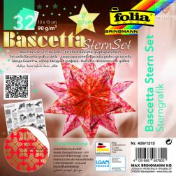 Set origami papirja za izdelavo Baschetta zvezd zlato-rdeč 20x20 cm 32 listov