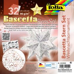 Set origami papirja za izdelavo Baschetta zvezd, belo- bakren, 20x20 cm, 32 listov