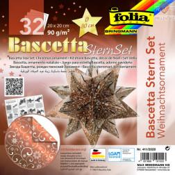 Set origami papirja za izdelavo Baschetta zvezd bakreno-bel 20x20cm 32 listov