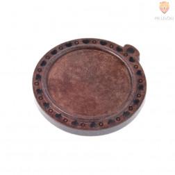 Lesen medaljon okrogel temno rjav 30 mm 1 kos