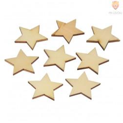 Leseni okraski naravni Zvezdice 3cm 8 kosov