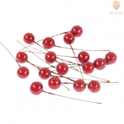 Dekorativne rdeče kroglice na žici 12mm 18 kosov