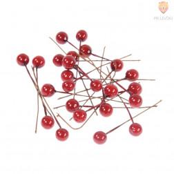 Dekorativne rdeče kroglice na žici 8mm 24 kosov