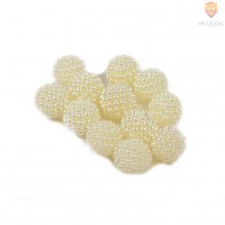 Perle akrilne z bunkicami 16 mm bele 12 kos