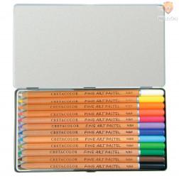 Suhi pasteli v svinčniku set 12 kosov v kovinski embalaži