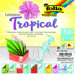 Origami papir Tropical 10 motivov 80 g/m2 50 kosov