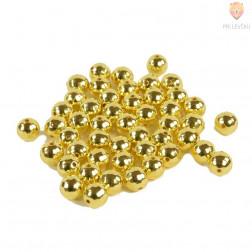 Perle plastične kovinski izgled Disko okrogle zlate 10mm 40g
