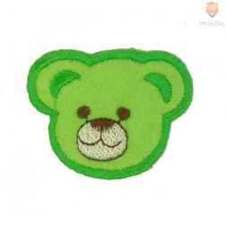 Našitek samolepilni - Medvedek zelen 4 cm x 4,5 cm