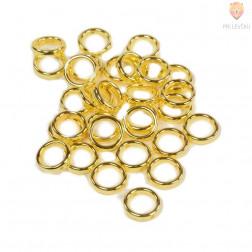 Plastični členi kovinski izgled krog zlate barve 15mm 30 kosov