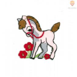Našitek samolepilni - Konjiček rožnat 4 cm x 5 cm