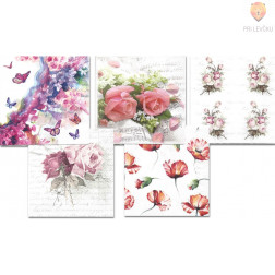 Prtički za servietno tehniko cvetoči travnik 5 motivov 10 kosov