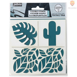 Fleksibilna šablona za tekstil Tropical 15x15cm