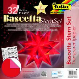 Set transparentnega papirja za Baschetta zvezdo rdeč 30x30 cm 32 listov