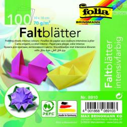 Origami papir, intenzivnih barv, 10x10 cm, 70 g/m2, 100 listov