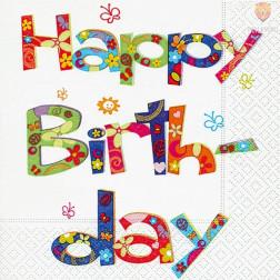 Prtički za servietno tehniko Happy Birthday 1 motiv 20 kosov
