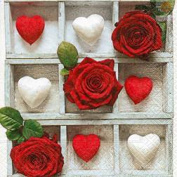 Prtički za servietno tehniko Rdeče vrtnice in beli srčki 20 kosov