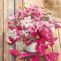 Prtički za servietno tehniko Pink rožice 20 kosov