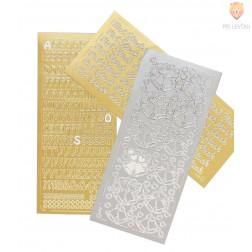 Nalepke črke višine 18mm srebrne ali zlate barve 1 pola