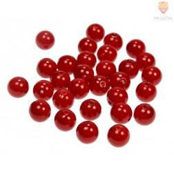 Akrilne perle okrogle 12 mm, rdeče barve, 30 kos