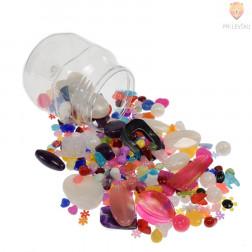 Akrilne perle miks barv in oblik v kozarčku, 150 g