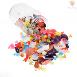 Akrilne perle miks barv in oblik v kozarčku, 450 g