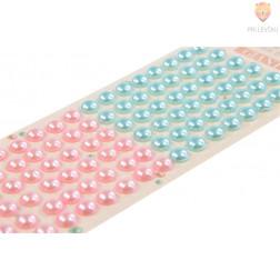 Samolepilne perle na papirju roza in turkizne 10mm 96 kosov
