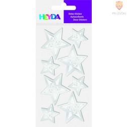 Nalepke za dekoracijo Srebrne zvezdice s kamenčki